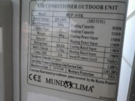 Etiqueta rendimiento térmico COP-EER